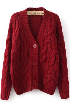 Cardigan tricoté en câble -vineux  11.57