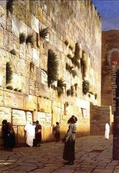 Jean-Leon Gerome Solomon's Wall Jerusalem (or The Wailing Wall) painting anysize 50% off - Solomon's Wall Jerusalem (or The Wailing Wall) painting for sale