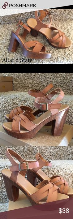 "Platform sandals Platform heels. The leather and platform has a distressed look. Heel 4 1/2"" Brand new Altar'd State Shoes Heels"
