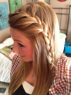 french braided bangs- Possibly start like this and then French braid all the way around across the back of your head to a side pony
