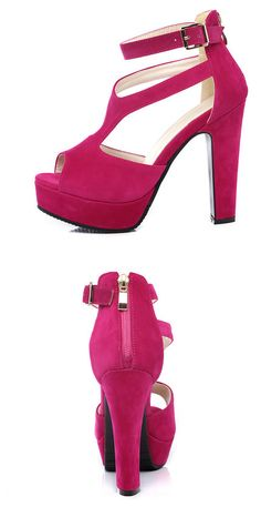 Square High Heel Peep Toe PU Leather Zipper Woman Wedding Shoes
