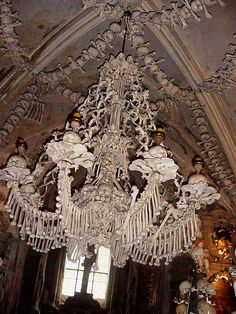 I am fiercely interested in ossuaries. This is a chandelier hanging in the Sedlec Ossuary in the Czech Republic.