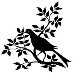 bird branch silhouette, black and white graphic, vintage bird clip art, bird on…