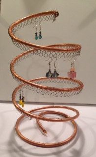 Spiral Copper Earring Tree Holder Organizer Holds approx 55 pairs