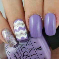 Lilac and Glitter Chevron nails