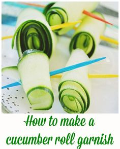 How to make a rolled cucumber garnish! Easy tips for your next party on… Diy Party, Party Ideas, Cucumber Rolls, Bloody Mary Bar, Cooking 101, Brunch Ideas, Bagels, Bon Appetit, Cocktails
