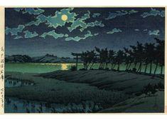 水戸涸沼広浦 昭和21年(1946)作 巴水のファンは日本全国にいたと思われるが、茨城県水戸にもスポンサーがいたようだ。巴水はたびたび水戸を訪れ、周辺の風景をスケッチしている。したがって茨城県を描いた作品は思いのほか多く存在している。とりわけ名所ともいえない涸沼も巴水の手にかかれば月の名品として後世に名を残している。