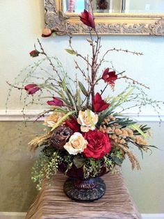 Silk Floral Arrangement. Faux Floral Design. Elegant and Traditional.  Greatwood Floral Designs