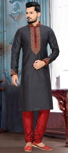 501811: Black and Grey color family stitched Kurta Pyjamas .