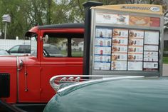 Cars stop in at the A and W Drive-In. A&w Restaurants, Fast Food Restaurant, The Good Old Days, Root Beer, Classic Cars, Retro, Sweet, Candy, Vintage Classic Cars