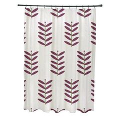 e by design Flower Power Shower Curtain Color: Off White/Purple