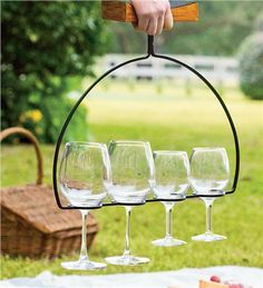 Wine Flight Wine Glass Holder & Server - Iron and mango wood server holds four glasses (not included). Simply fill the glasses, set them on the table and remove the holder.