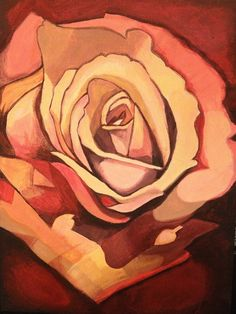 rose painting; acrylic on   canvas