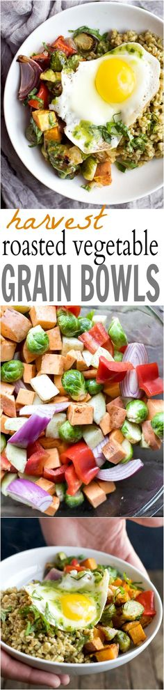 Roasted Vegetable Grain Bowl Harvest Roasted Vegetable Grain Bowls - a healthy, filling, fall inspired dinner recipe packed with nutrients and bursting with flavor! You'll love the dressing the farro is tossed with! Budget Clean Eating, Clean Eating Vegetarian, Healthy Eating Recipes, Budget Meals, Vegetarian Recipes, Healthy Food, Eating Vegan, Vegetarian Breakfast, Yummy Food
