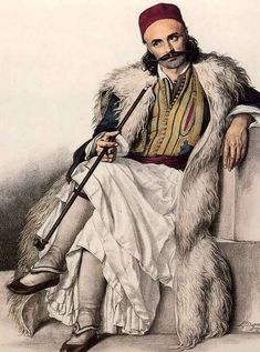 Markos Botsaris (Greek: Μάρκος Μπότσαρης, c. 1788 – 21 August was a general and hero of the Greek War of Independence and captain of the Souliotes. Botsaris is among the most revered national heroes in Greece. Greek History, Roman History, Monuments, Ancient Greek Costumes, Greek Traditional Dress, Greek Independence, Albanian Culture, Greek Warrior, Portraits