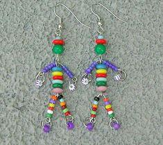 Multi color bright little man friend beaded OOAK charm earrings dangle drop boho Wire Jewelry, Jewelry Crafts, Beaded Jewelry, Jewelery, Handmade Jewelry Designs, Earrings Handmade, Idee Diy, Beading Projects, Bead Earrings