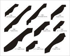 Crown Mouldings: 3 1/4 iinch, 7 inch, 6 3/4 inch, 5 1/2 inch, 4 inch, 2 1/2 inch, 5 inch, 2 3/4 inch    (http://www.blueoxmill.com)