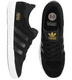 Adidas Lucas Shoes - Black/Running White/Metallic Gold $63.50 #adidas #lucas Black Shoes, Men's Shoes, Shoe Boots, Guy Boots, Blue Friday, Adidas Three Stripes, Diamond Supply, Unique Shoes, Mens Fashion