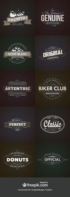 Here is the second volume of the retro vintage badges set, with 10 new awesome templates in AI and...