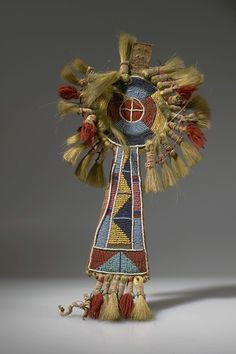 Crow Bridle Ornament, Material: Hide, Beads, Hair, Yarn, Cloth, Sinew