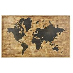 Printed World Map Mango Wood Wall Art on Maisons du Monde. Hallway Furniture, Sideboard Furniture, Loft Industrial, Dining Room Bench Seating, Sun Lounger Cushions, Decorative Storage Boxes, Lantern Candle Holders, Home Scents, Jewellery Boxes