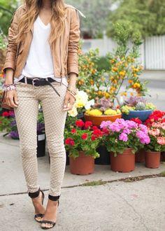 A simple tan leather cardigan, a white v-neck, black belt, beige polka-dot jeans, cute black open toe heels. Adorable