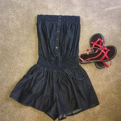 ADORABLE ROMPER ADORABLE BUTTON UP ROMPER with 2 Front Pockets in the Skirt.  Elastic top and Waist for Comfort. In Style Other