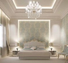 Ideas for wallpaper bedroom classic interior design Blue Bedroom, Trendy Bedroom, Bedroom Bed, Modern Bedroom, Bedroom Classic, Bedroom Ideas, Bedroom Curtains, Bedroom Ceiling, Bedroom Furniture