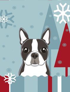Winter Holiday Boston Terrier 2-Sided Garden Flag