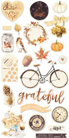 Take in the beauty of fall with the Amber Moon Collection Chipboard Stickers and More with Foil Accents! Included in the package are 48 stickers (bike, white Bullet Journal Vintage, Planner Bullet Journal, Bullet Journal Books, Bullet Journal Ideas Pages, Kawaii Stickers, Cool Stickers, Printable Planner Stickers, Journal Stickers, Printables