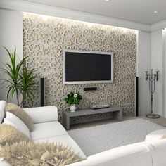 Patterned accent wall for mounting flat-panel TV