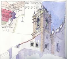 Olinda II, BRA | Igreja Nossa Senhora da Misericordia, 2012 | Jochen Schittkowski | Flickr Watercolor Sketch, Watercolor Paintings, Drawing Sketches, Art Drawings, Drawing Art, Urban Sketchers, Architecture Drawings, Environmental Art, Illustration Art