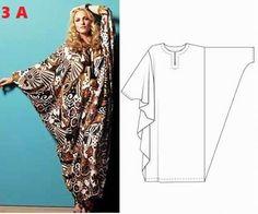 Caftan Sleeve with Patterns - Bing images Diy Clothing, Sewing Clothes, Clothing Patterns, Dress Patterns, Hijab Fashion, Diy Fashion, Ideias Fashion, Fashion Design, Abaya Pattern