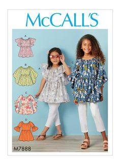 NEW and UNUSED McCalls sewing pattern SIZE: Girls Pullover tops have elasticized neckline and sleeve variations. A, B, C: Wrong side of fabric will show on sleeve. Animal Sewing Patterns, Mccalls Sewing Patterns, Vogue Patterns, Dress Patterns, Sewing For Kids, Sewing Ideas, Sewing Projects, Boho Tops, Toddler Dress