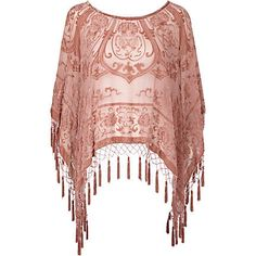 pink devore cape - shawls / capes - accessories - women - River Island
