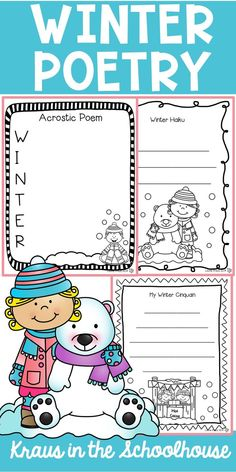 Are you teaching your students how to write poetry? This winter themed poetry resource will help your students learn to write poems. Acrostic, cinquain, couplets, diamante, and haiku poems are all included. Poetry Unit, Writing Poetry, Learning To Write, Student Learning, Teaching Poetry, Teaching Writing, Teaching Ideas, Cinquain Poems, Vocabulary Activities