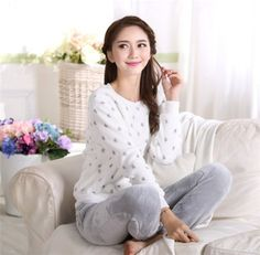 41ad5a0a7e Fashion Warm Sleepwear Home Clothing winter Flannel Nightgown Pajamas Set High  Quality Warm Long-Sleeved