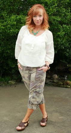 Fashion Fairy Dust white peasant top, camo cropped pants, brown sandals, turquoise necklace