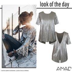 blusa plata plisada con escote en espalda