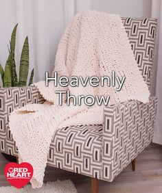 Heavenly Throw Free Knitting Pattern in Red Heart Yarns -- You'll love the softness of this chenille yarn as you relax with it each evening. The jumbo yarn weight is great if you want a faster throw to knit and shows off the basket weave pattern wonderfully. We've shown it in a neutral color that is perfect for gift giving.