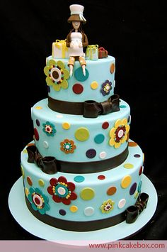 Baby Shower Cake...picture this WITHOUT the prego momma on top.  Maybe a Jack, Jenn, and Sophie on top :-)