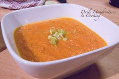 Roasted tomato and carrot soup with ginger.