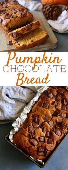 This Chocolate Chip Pumpkin Bread is a Fall must have. With it's sweet aromas baking and delicious texture, it is the perfect Halloween treat or Thanksgiving dessert!