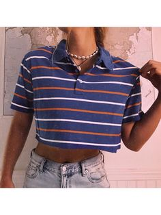 Retro Outfits, Cute Casual Outfits, Vintage Outfits, Summer Outfits, 80s Style Outfits, 80s Inspired Outfits, 90s Style, Polo Shirt Outfits, Polo Outfit