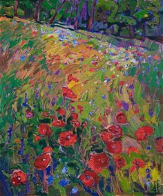 Texas poppies original oil painting for sale by modern expressionist landscape painter Erin Hanson