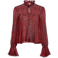 Saloni - Tyler Bow Tie Bell Sleeve Velvet Leopard Printed Blouse (20.100 RUB) ❤ liked on Polyvore featuring tops, blouses, shirts, red velvet shirt, tie neck tie, sheer shirt, see through blouse and tie-neck blouses