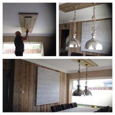 Eindelijk mijn hanglampen voor de keuken gevonden. Ik vind van die plastic gootjes altijd lelijk aan het plafond, dus op zoek naar een andere oplossing. Nu bestaat een van onze wanden uit steigerhout, dus met dat hout een constructie bedacht  om mijn stoere PTMD lampen op te hangen zonder draden in het zicht. ( met dank aan pa, die mijn idee gerealiseerd heeft)