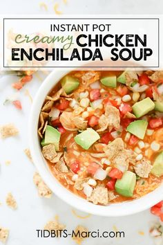 Pressure Cooker Creamy Enchilada Soup Welcome soup seasonal with this comforting, veggie packed, healthy and delicious pressure cooker Creamy Chicken. Creamy Chicken Enchiladas, Chicken Enchilada Soup, Chicken Soup, Cheesy Chicken, Ip Chicken, Soup Recipes, Chicken Recipes, Healthy Recipes, Healthy Soup
