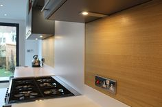 Mr & Mrs M, Bristol - ALNOPLAN kitchen by Phil Harflett at ALNO Bristol. Stone & oak Stylish Kitchen, Kitchen Lighting, Bristol, Wall Lights, The Unit, Led, Stone, Table, Furniture