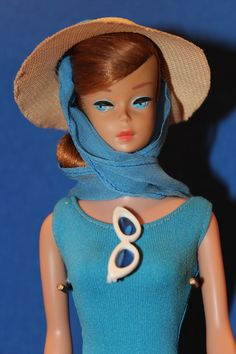 Vintage Titian Swirl Ponytail Barbie Wearing In the Swim
